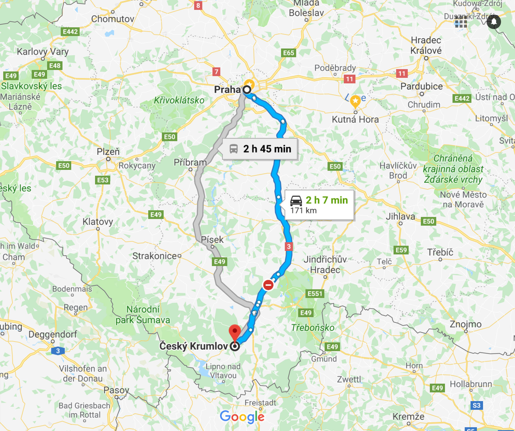 Prague to Krumlov Route Map
